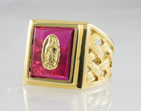 14 Kt Yellow Gold Our Lady Of Guadalupe Ring