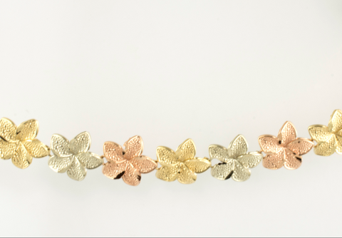14 Kt Tricolor Gold Flower Ladies' Bracelet