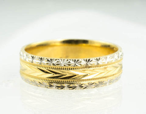 14 Kt Two Tone Gold Wedding Band