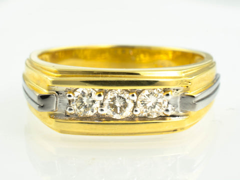 14 Kt Two Tone Gold & Diamond Band