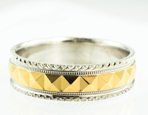 14 Kt Two Tone Gold Band