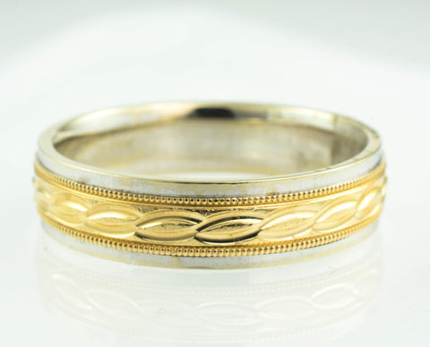 14 Kt Two Tone Gold Design Band