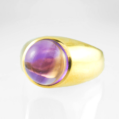 14 Kt Yellow Gold Amethyst Men's Ring