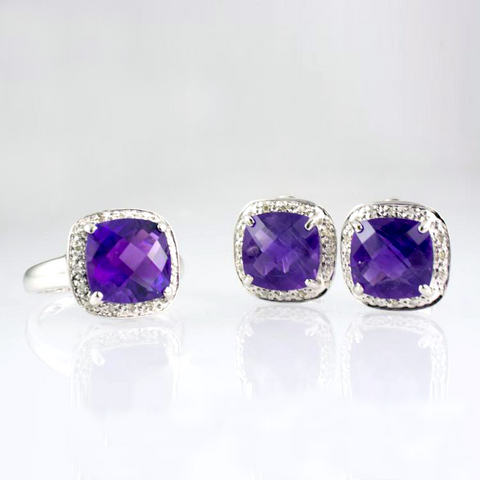14 Kt White Gold Amethyst & Diamond Set