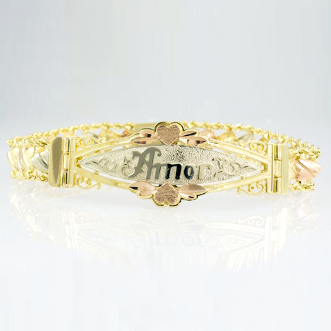 14 Kt Tri-Color 'Amor' Heart ID Ladies' Bracelet