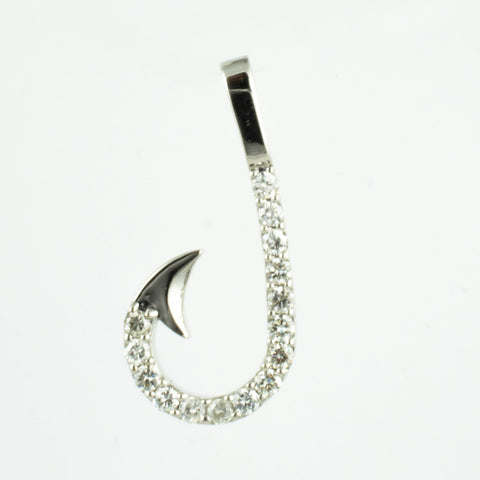 14 Kt White Gold Fish Diamond Charm