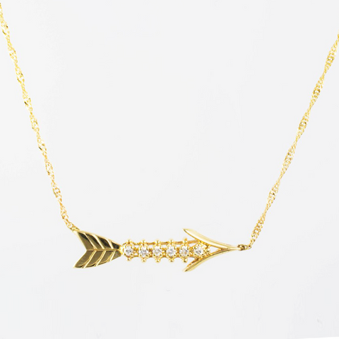 14 Kt Yellow Gold Diamond Arrow Necklace