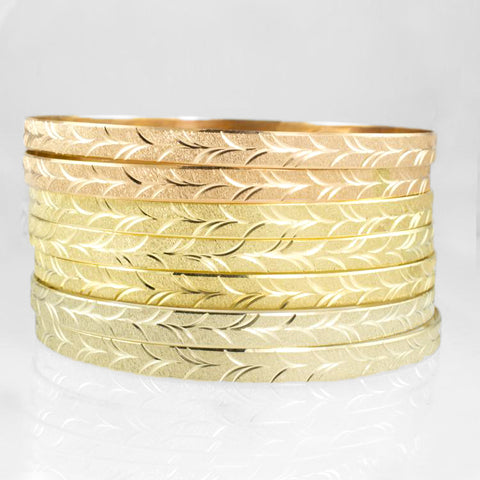 "14 Kt Tricolor ""Gold 7"" Ladies' Bangles"