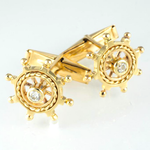 14 Kt Yellow Gold Diamond Boat Wheel Cufflinks