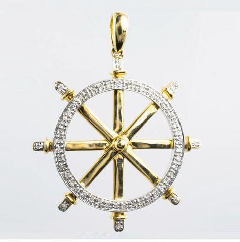 14 Kt Yellow Gold Diamond Boat Wheel