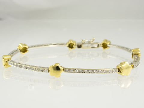 18 Kt Two Tone Gold Diamond Ladies' Bracelet
