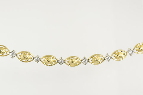 14 Kt Two Tone Gold Turtle & C/Z Ladies' Bracelet