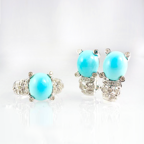 14 Kt White Gold Turquoise & Diamond Set