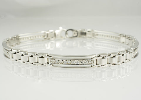 14 Kt White Gold C/Z Ladies' Bracelet