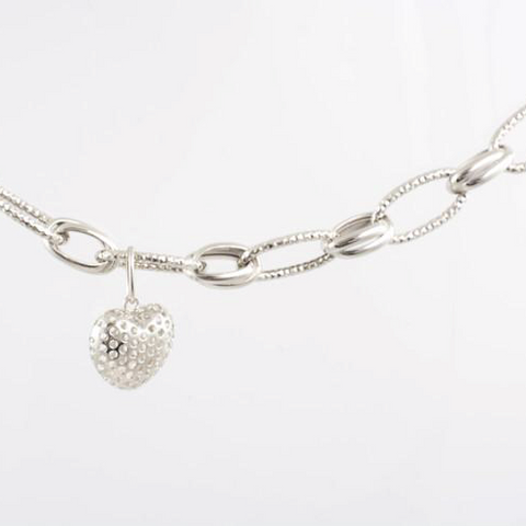 14 Kt White Gold Heart Necklace & Bracelet Set