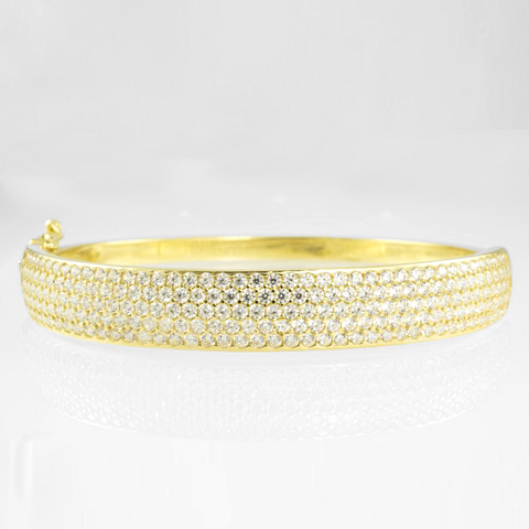 14 KT Yellow Gold C/Z Ladies' Bangle