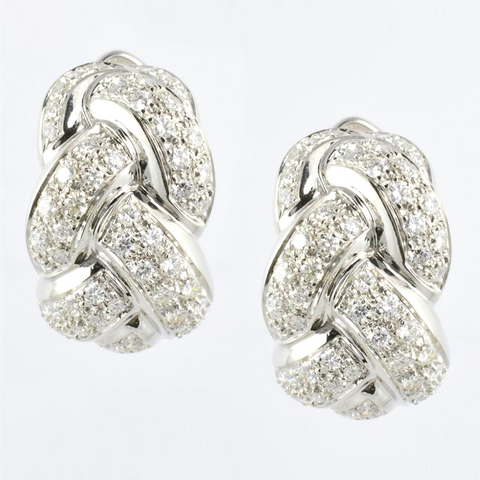 18 Kt White Gold C/Z Ladies' Braided Earrings