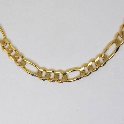 14 Kt Yellow Gold Italian Men's Figaro Bracelet