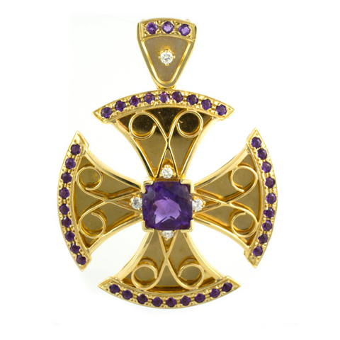 14 Kt Yellow Gold Amethyst & Diamond Charm