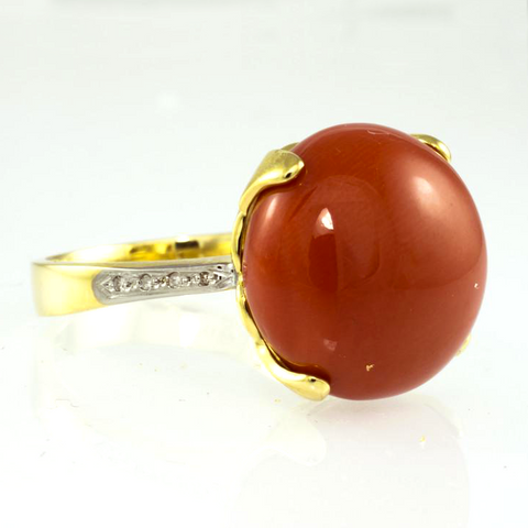 14 KT Yellow Gold Coral & Diamond Ladies' Ring
