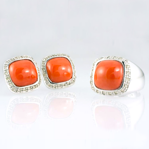 14 Kt White Gold Coral & Diamond Set