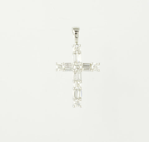 14 Kt White Gold & Diamond Ladies' Cross Charm