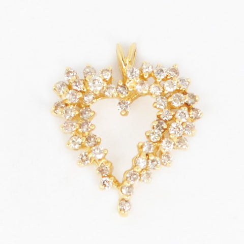 14 Kt Yellow Gold Diamond Heart Charm