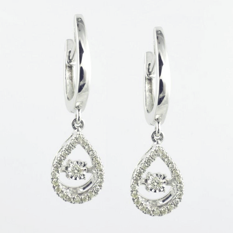 10 Kt White Gold Teardrop  Romance Earrings & Pendant