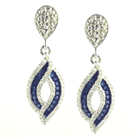 10 Kt White Gold Blue & White Diamond Fashion Earrings