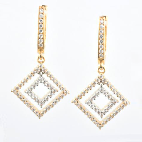 14 Kt Rose Gold Rhombus C/Z Ladies' Earrings