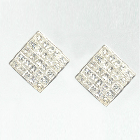 14 Kt White Gold Diamond Ladies' Stud Earrings
