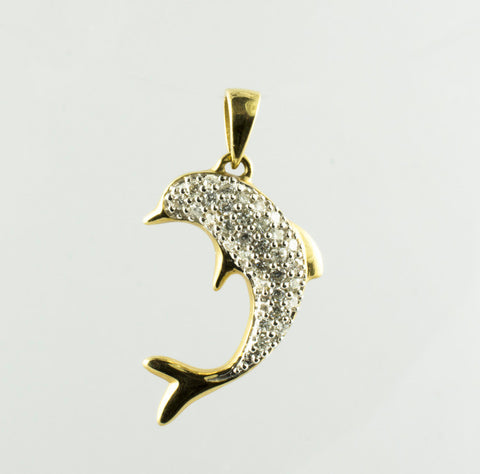 14 Kt Yellow Gold Dolphin Diamond Charm