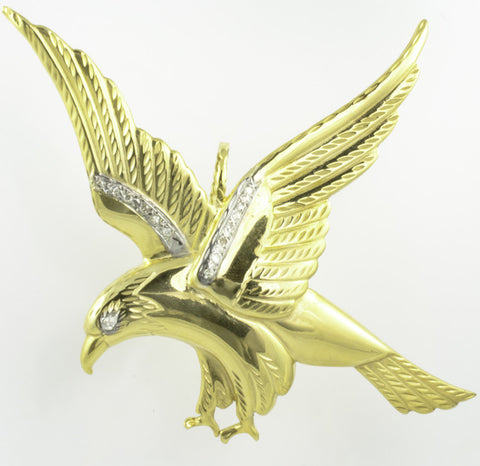 14 Kt Yellow Gold Diamond Eagle Charm