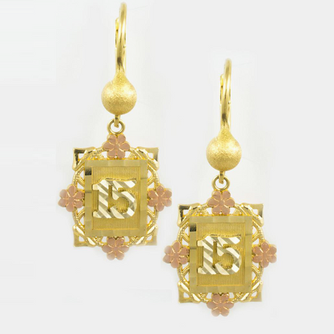 14 Kt Gold Tricolor Quinces Earrings