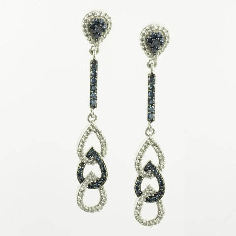 10 Kt White Gold White & Blue Diamond Pear Drop Earrings