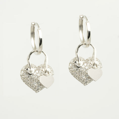 14 Kt White Gold C/Z 3-Piece Heart Set