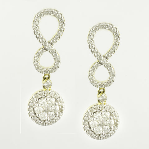 10 Kt Yellow Gold Diamond Infinity Earrings
