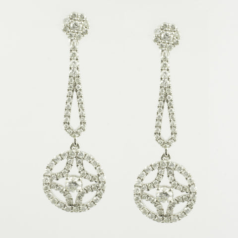 14 Kt White Gold Diamond Fashion Earrings