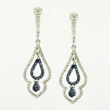 10 Kt Yellow Gold Blue & White Diamond Pear Drop Earrings