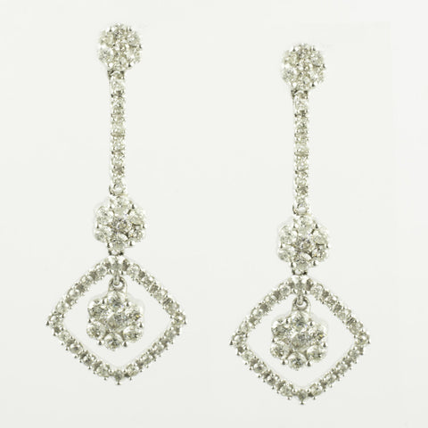 14 Kt White Gold Diamond Flower Earrings