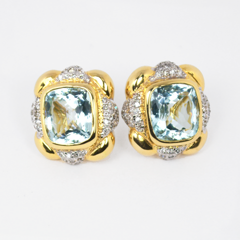 14 Kt Yellow Gold Aquamarine & Diamond Ladies' Earrings