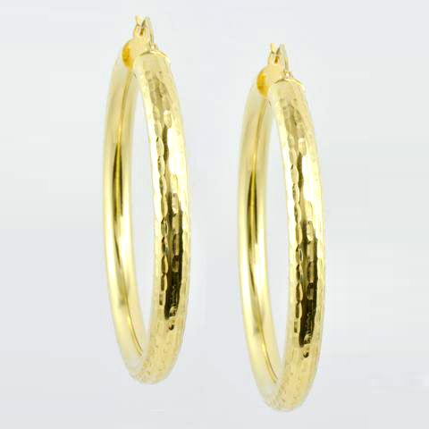 14 Kt Yellow Gold Diamond Cut Ladies' Hoops