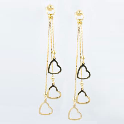 14 Kt Yellow Gold Hanging Ladies' Heart Earrings