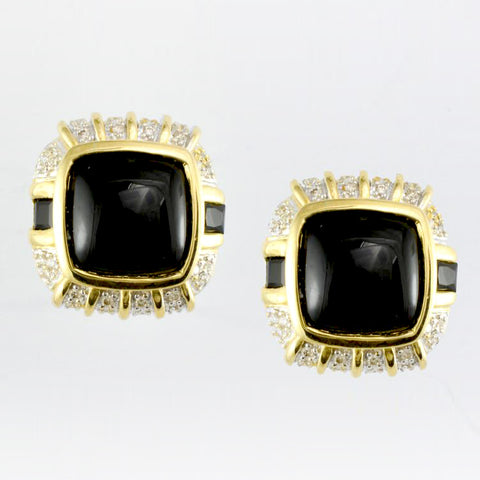 14 Kt Yellow Gold Onyx & Diamond Ladies' Earrings