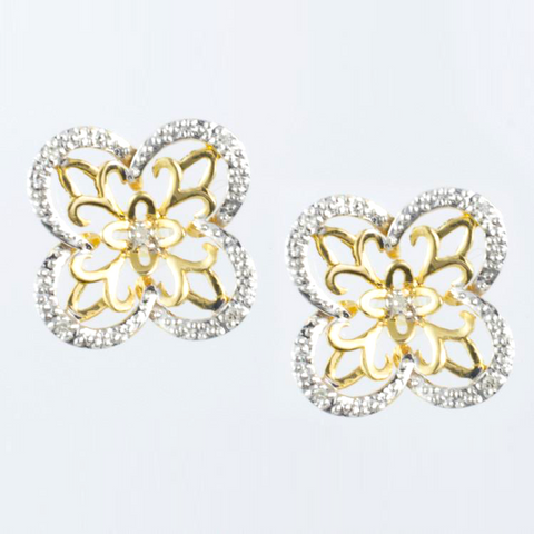 14 Kt Two Tone Gold Flower Diamond Ladies' Earrings
