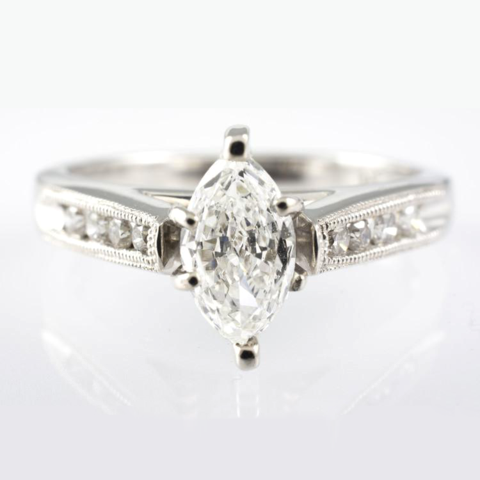 14 Kt White Gold Marquise Diamond Ring