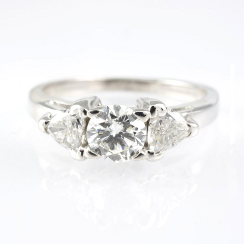 14 Kt White Gold Triangle Diamond Ring
