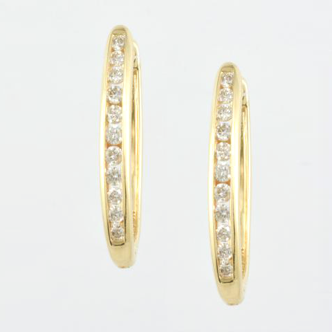 14 Kt Yellow Gold & Diamond Ladies' Oval Hoop Earrings