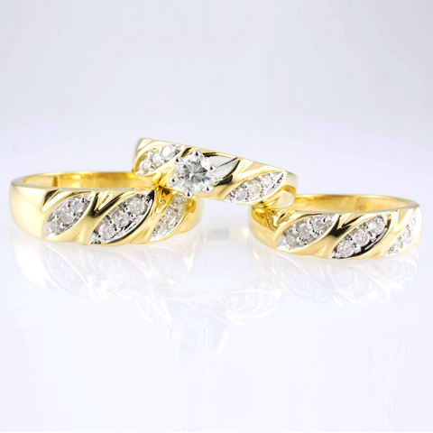 14 Kt Yellow Gold Diamond Trio Set