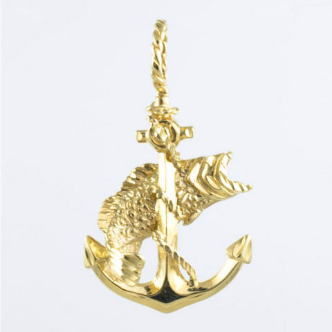 14 Kt Yellow Gold Anchor Grouper Charm